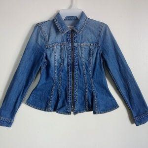 Rebecca Taylor Women's Denim Jacket Peplum Hem Sm